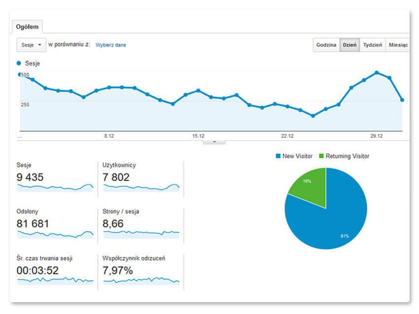 Dane z Google Analytics – 12 miesiąc pozycjonowania