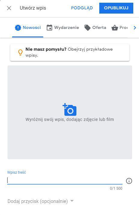 wpis informacyjny w wizytówce Google