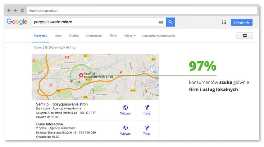 Wysokie miejsce w mapach Google